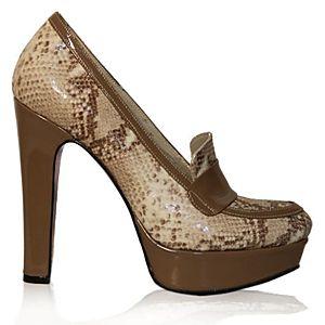 LeSille Natural Yılan Baskılı Loafer Ayakkabı