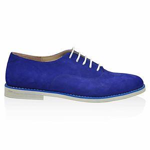 LeSille Saks Mavisi Süet Bağcıklı Köpük Taban Oxford Ayakkabı