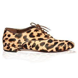 LeSille Sarı Leopar Tay Oxford Ayakkabı