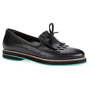 LeSille Siyah Deri Bağcıklı Püsküllü Köpük Taban Oxford Ayakkabı