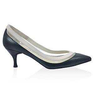 LeSille Siyah Deri & Bej Deri & Şeffaf Mikalı Stiletto Ayakkabı