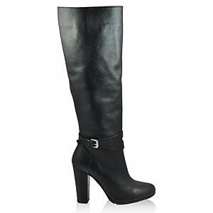 LeSille Siyah Deri Bilekte Tokalı Çizme