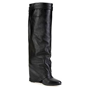 LeSille Siyah Deri Paçalı Çizme