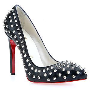 LeSille Siyah Deri Pimli Stiletto Ayakkabı