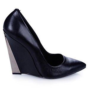 LeSille Siyah Deri Sivri Burun Dolgu Topuk ayakkabı
