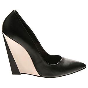 LeSille Siyah Deri Sivri Burun Pudra Dolgu Topuk ayakkabı