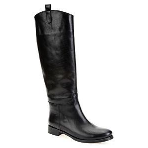 LeSille Siyah Deri Yandan Köprülü Çizme