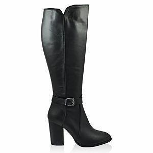 LeSille Siyah Deri Yandan Tokalı Çizme