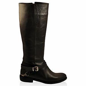 LeSille Siyah Deri Yandan Tokalı Mahmuzlu Çizme