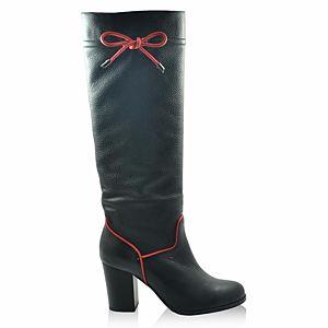 LeSille Siyah Kips Deri Kırmızı Deri Yandan Fiyonklu Çizme