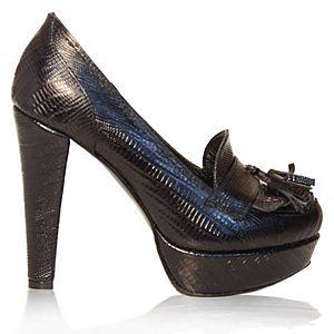 LeSille Siyah Krokodil Önü Püsküllü Loafer Ayakkabı