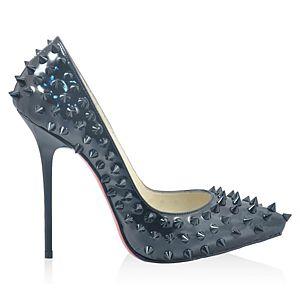 LeSille Siyah Rugan Siyah Pimli Düşük Dekolteli Sivri Burun Ayakkabı