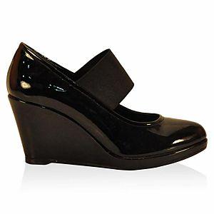 LeSille Siyah Rugan Üstten Lastikli Dolgu Topuk Ayakkabı