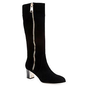 LeSille Siyah Süet Dıştan Fermuarlı Galvaniz Topuklu Çizme