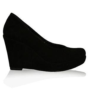 LeSille Siyah Süet Dolgu Topuk Ayakkabı