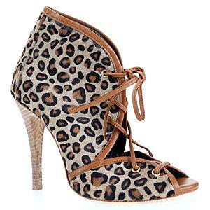 LeSille Taba Deri & Naturel Leopar Tay Derisi Biye Bağcıklı Ayakkabı