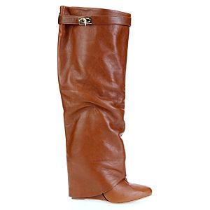 LeSille Taba Deri Paçalı Çizme