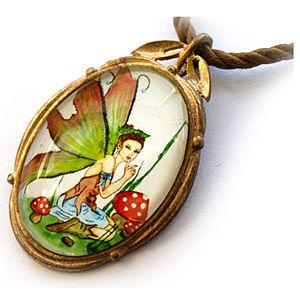 Mainili Mushroom Fairy Bronze Art Pendant