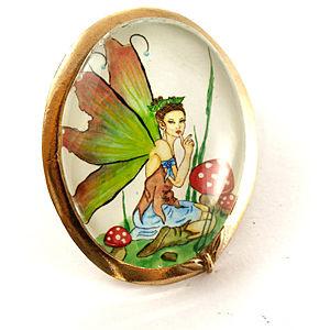 Mainili Mushroom Fairy Bronze Brooch
