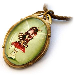 Mainili Mushroom Pixie Bronze Art Pendant