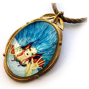 Mainili Sad Mermaid Bronze Art Pendant