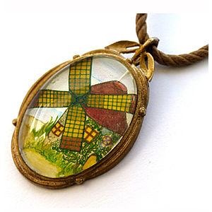 Mainili Windmill Bronze Art Pendant
