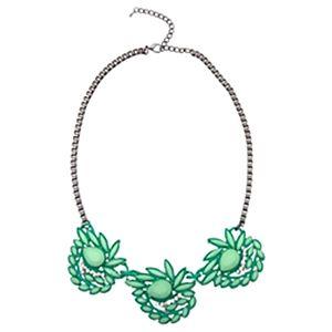 Modapik Çiçekli Yeşil Kolye