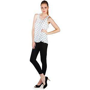 MyMija Beyaz At Desenli Bluz