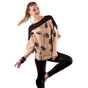 Gülçin Uzunalan Bej Saten Siyah Çiçekli Üst Şifon Bluz