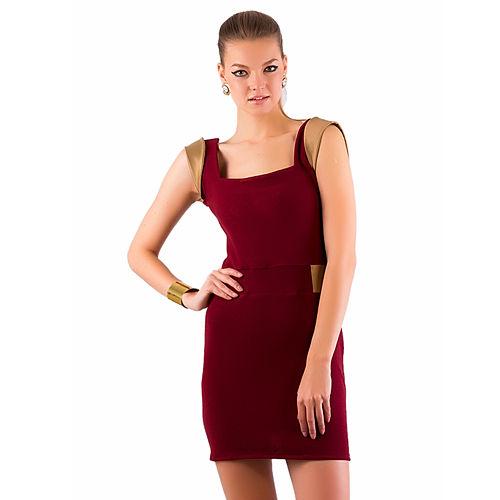 Gülçin Uzunalan Bordo Altın Kemer Detaylı Triko Elbise