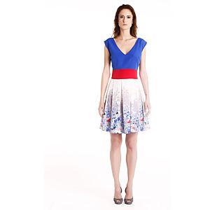 Gülçin Uzunalan Ekru Çiçek Desenli Elbise