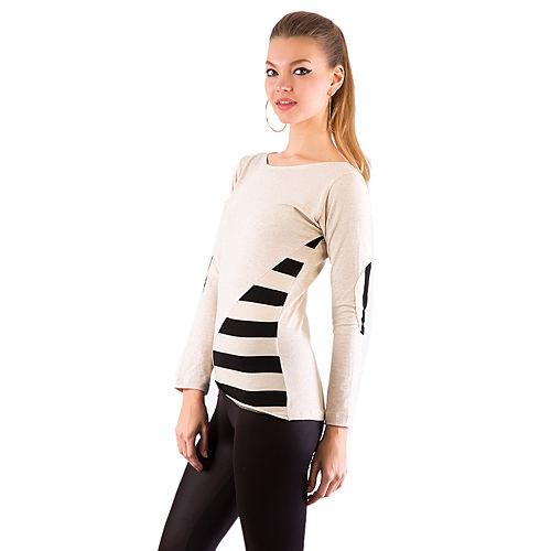 Gülçin Uzunalan Ekru Triko Patchlı Uzun Kol T-Shirt