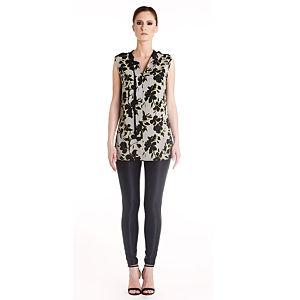 Gülçin Uzunalan Gri Siyah Çiçekli Apoletli Bluz