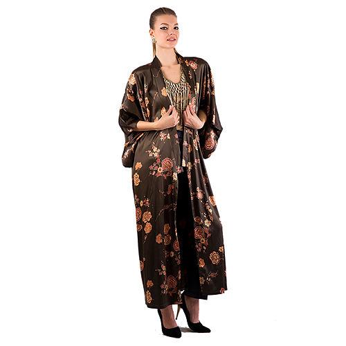 Gülçin Uzunalan Haki Çiçekli Saten Kimono