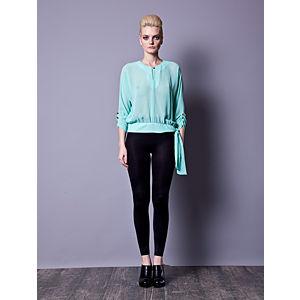 Gülçin Uzunalan Mint Yeşili Kol Düğme Detaylı Bluz