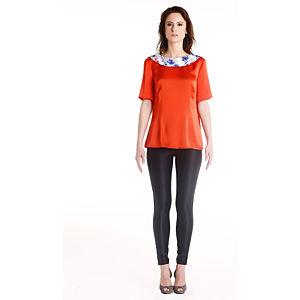 Gülçin Uzunalan Narçiçeği Sırt Düğmelı Yaka Çiçek Desenli Bluz