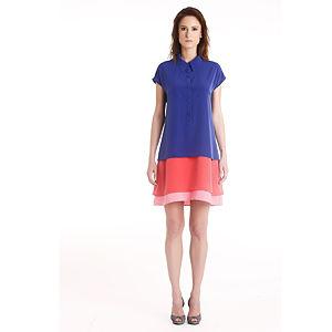 Gülçin Uzunalan Sax-Pembe-Narçiçeği Gömlek Elbise