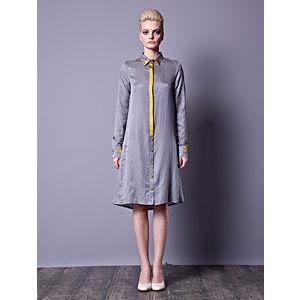 Gülçin Uzunalan Sırt Degaje Gri Gömlek Elbise