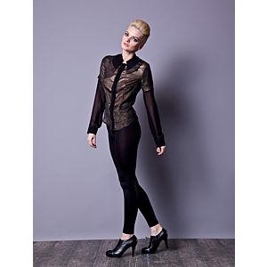 Gülçin Uzunalan Siyah Altın Varak Iki Yakalı Bluz