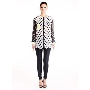 Gülçin Uzunalan Siyah-Beyaz Puantiyeli Gömlek