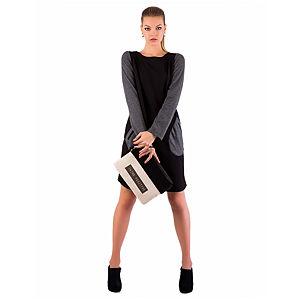 Gülçin Uzunalan Siyah Gri Garnili Cepli Elbise