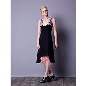 Gülçin Uzunalan Siyah Şifon Kanat Elbise