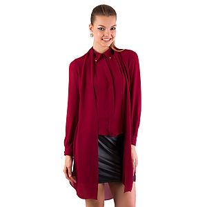 Gülçin Uzunalan Vişne Rengi İki Yaka Troklu Bluz