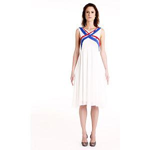 Gülçin Uzunalan Yaka Çapraz Bantlı Beyaz Şifon  Elbise