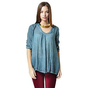 Heart Eclipse Mavi İpek Tunik Gömlek