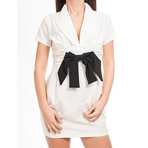Heart Eclipse Siyah Kurdeleli Şık Beyaz Elbise