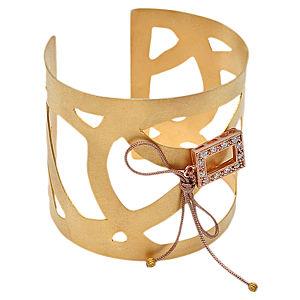Jour Du Nil Gümüş Altın Kaplama Geometrik Cuff Bileklik