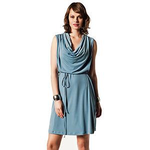 Jove Blas Degaje Yaka Elbise Açık Mavi
