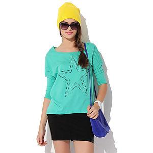 Jove Fae Yıldız Taşlı Bluz Yeşil