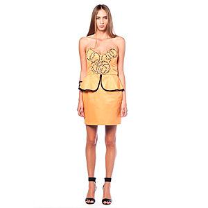 Karahasan's Hardal Rengi Üstü İşlemeli Elbise